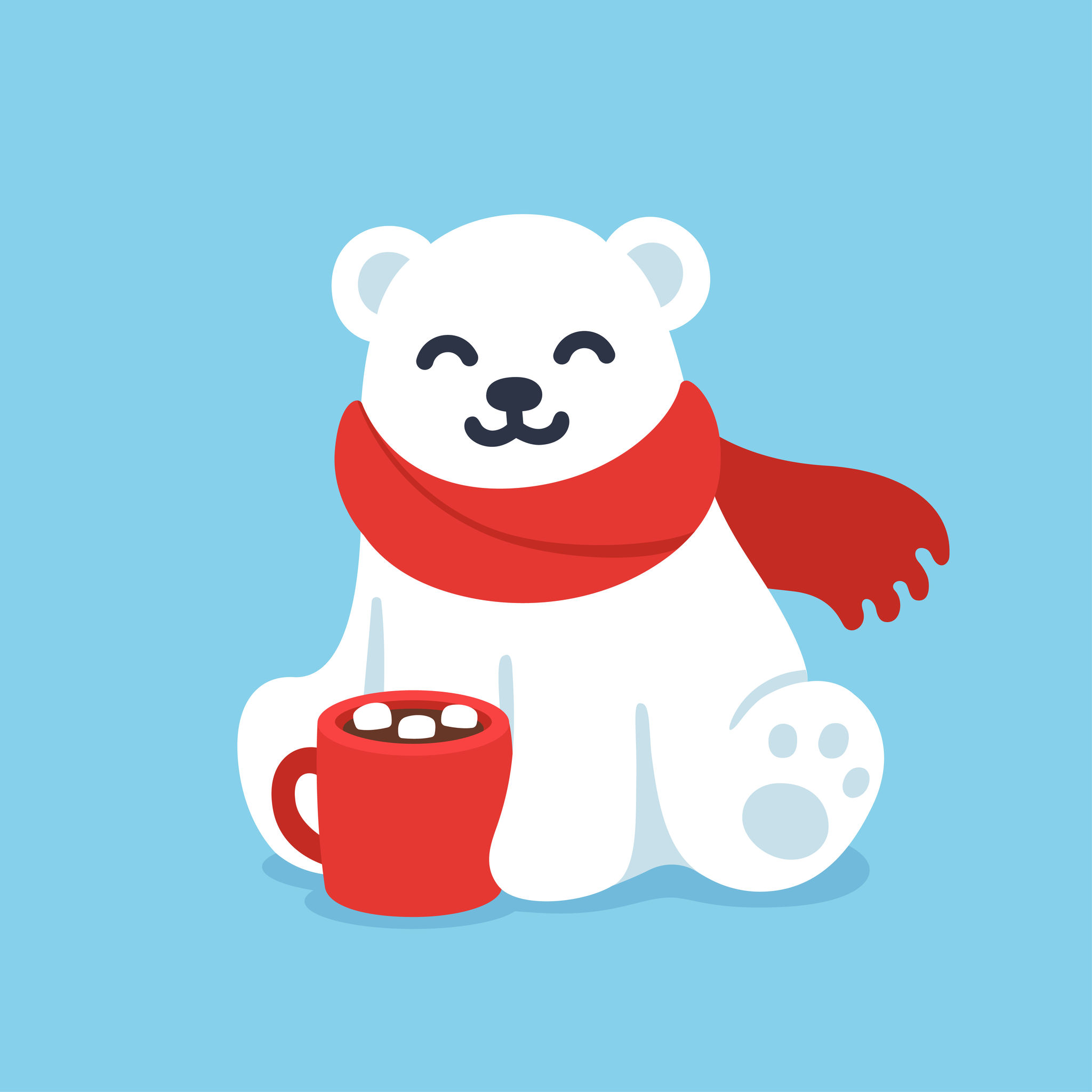 67688504 - cute cartoon polar bear in red scarf with hot chocolate cup. christmas and winter holidays greeting card vector illustration.